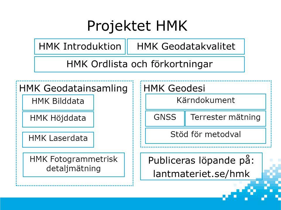 Projektet HMK HMK Introduktion HMK Geodatakvalitet