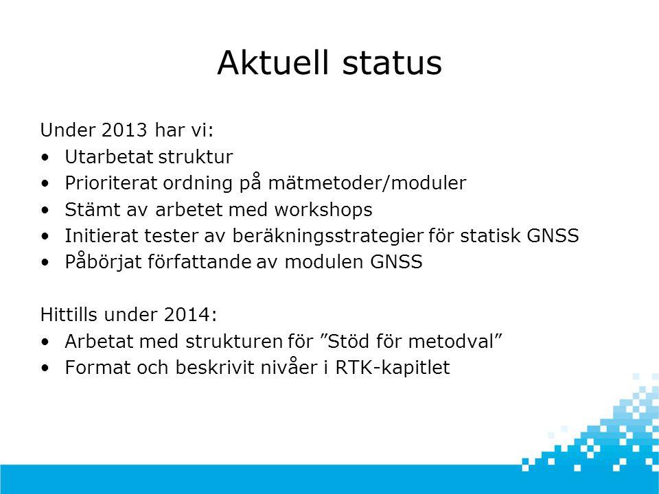 Aktuell status Under 2013 har vi: Utarbetat struktur