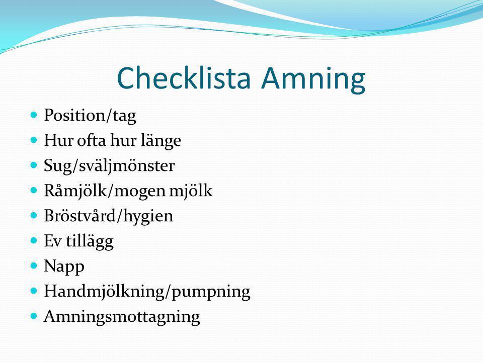 Checklista Amning Position/tag Hur ofta hur länge Sug/sväljmönster