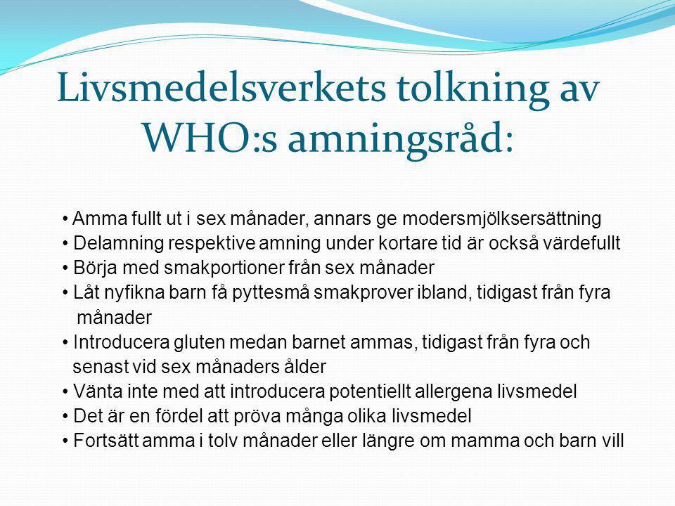 Livsmedelsverkets tolkning av WHO:s amningsråd: