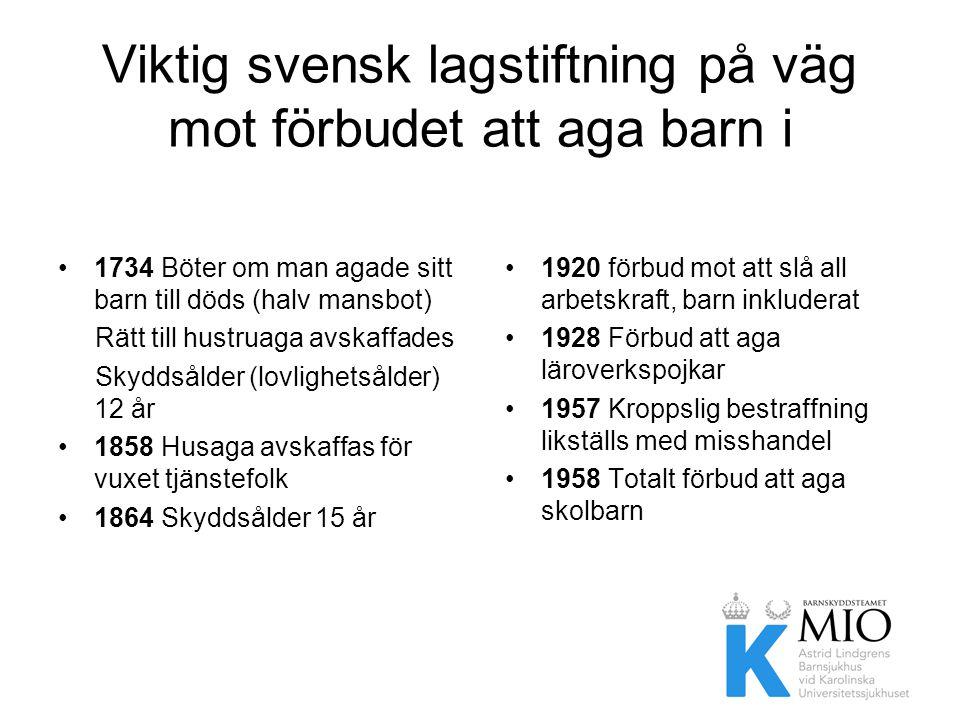 Viktig svensk lagstiftning på väg mot förbudet att aga barn i hemmen