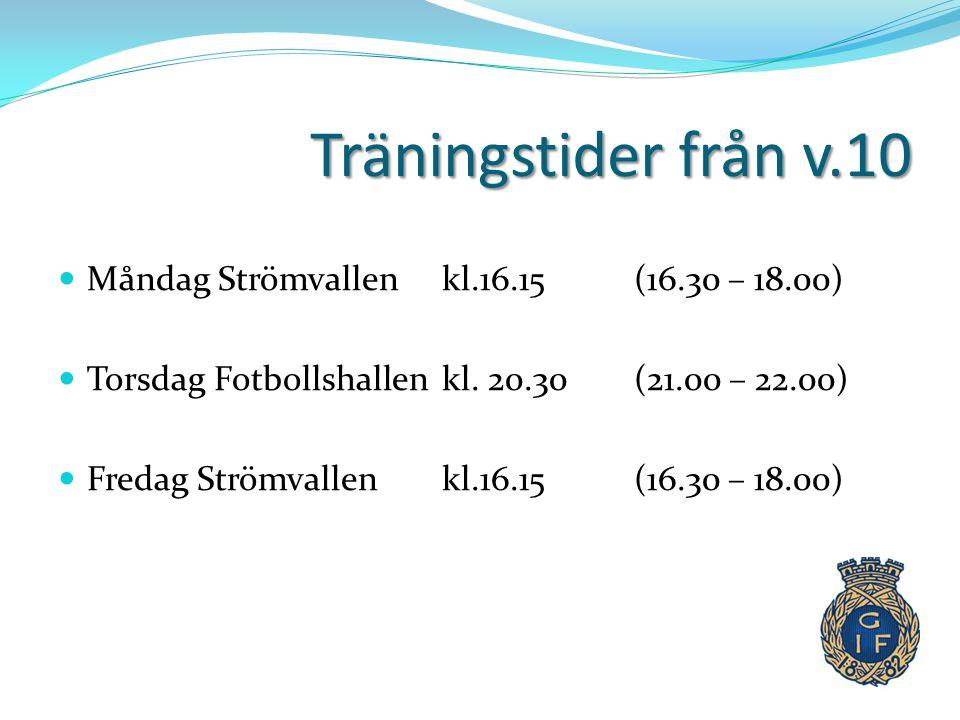 Träningstider från v.10 Måndag Strömvallen kl.16.15 (16.30 – 18.00)