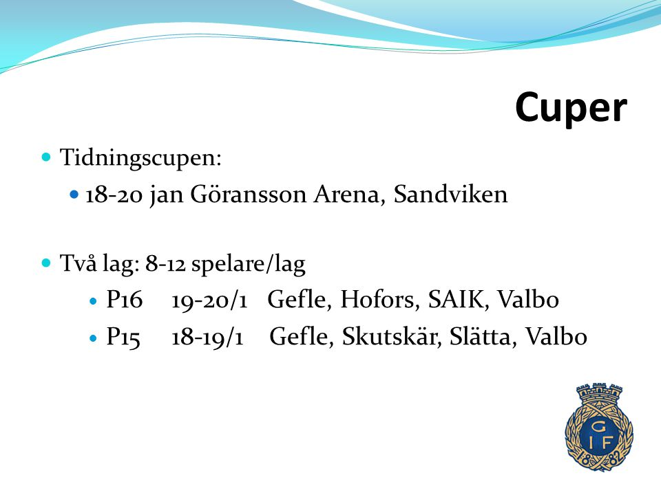 Cuper 18-20 jan Göransson Arena, Sandviken