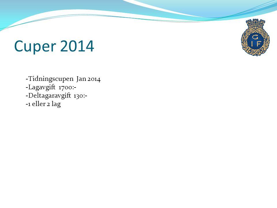 Cuper 2014 Tidningscupen Jan 2014 Lagavgift 1700:-