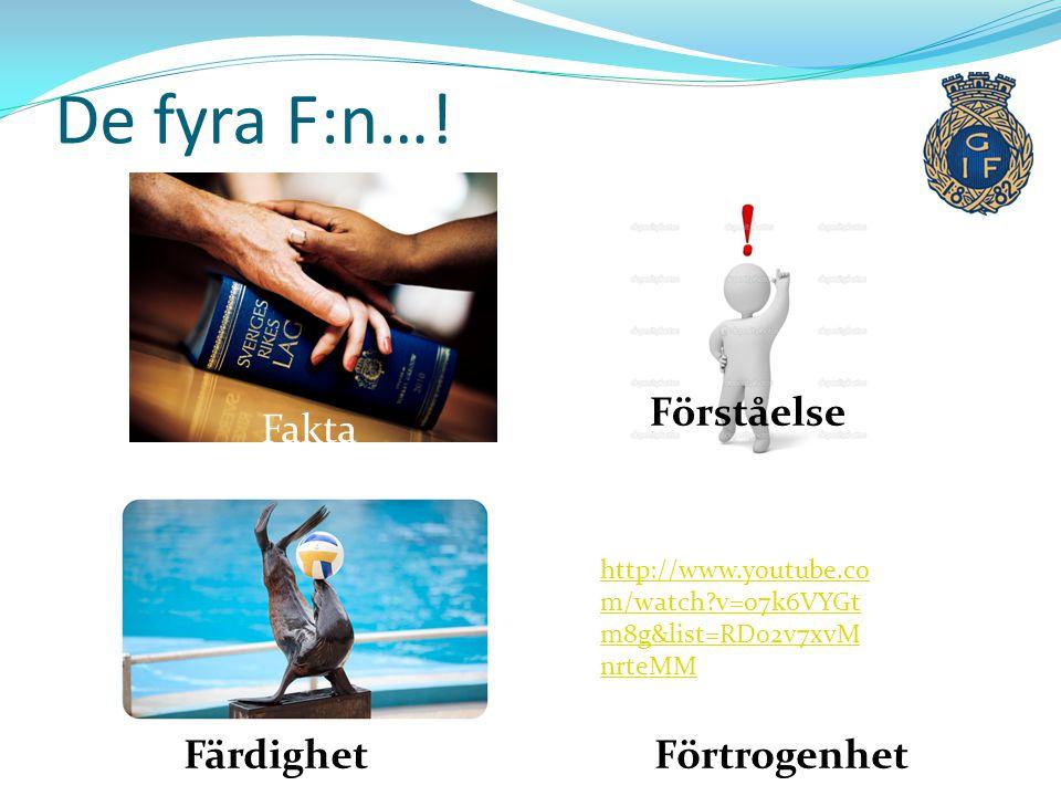 De fyra F:n…! Förståelse Fakta Färdighet Förtrogenhet