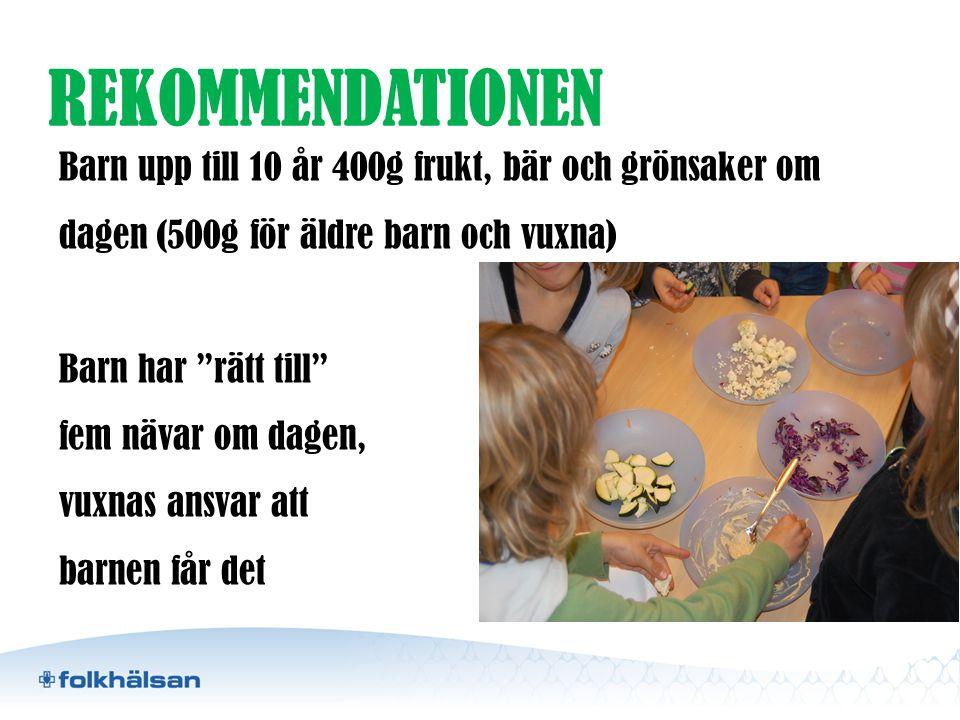 REKOMMENDATIONEN Barn upp till 10 år 400g frukt, bär och grönsaker om dagen (500g för äldre barn och vuxna)