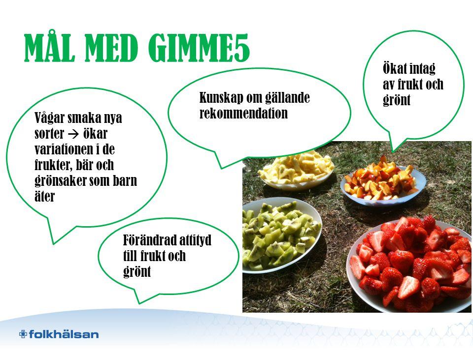 MÅL MED GIMME5 Ökat intag av frukt och grönt