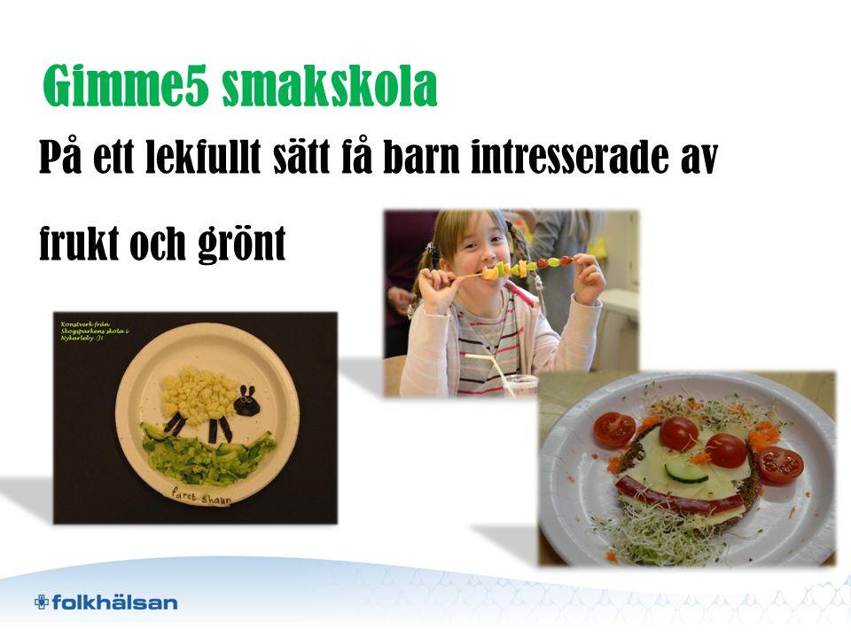 Gimme5 smakskola På ett lekfullt sätt få barn intresserade av frukt och grönt Med hjälp av sinnena.
