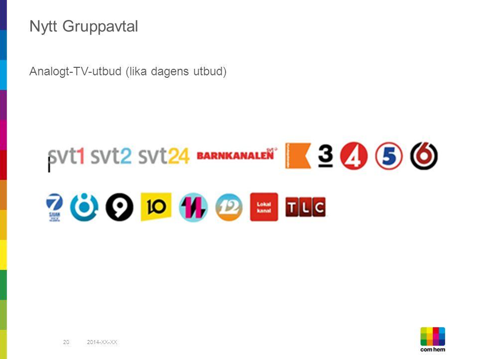 Nytt Gruppavtal Analogt-TV-utbud (lika dagens utbud) 2014-XX-XX