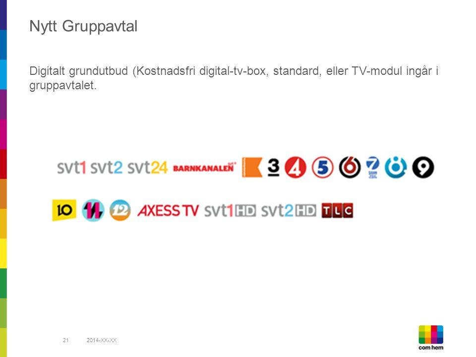 Nytt Gruppavtal Digitalt grundutbud (Kostnadsfri digital-tv-box, standard, eller TV-modul ingår i gruppavtalet.