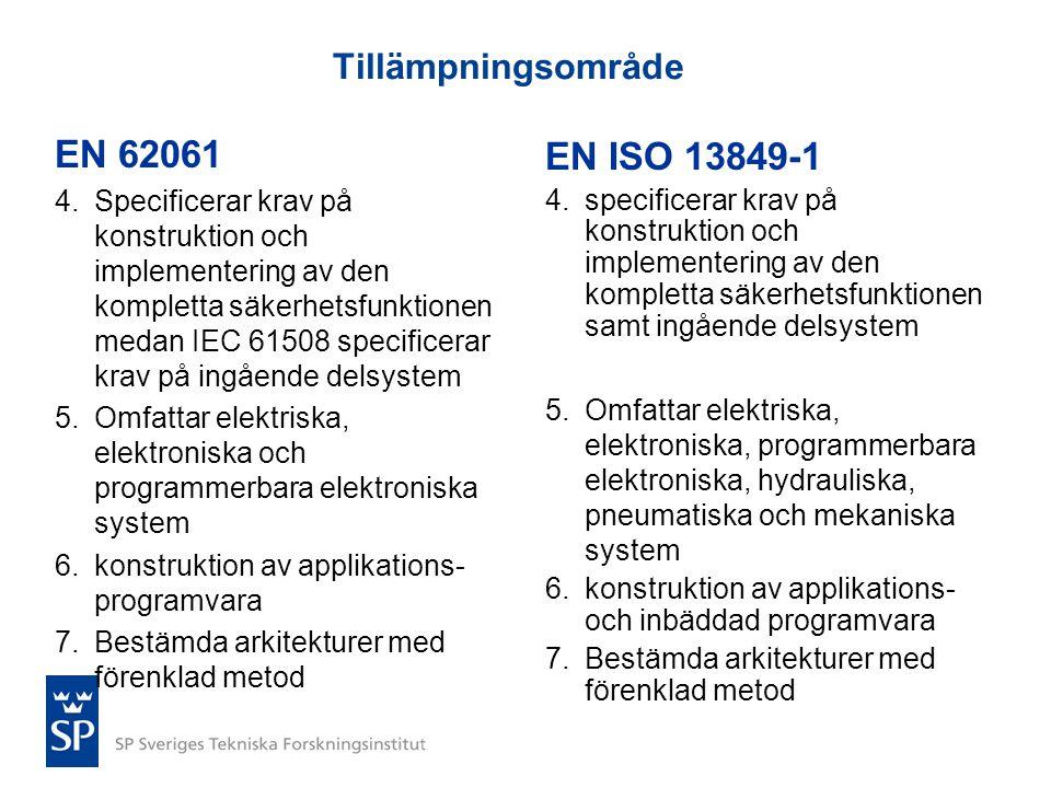 EN 62061 EN ISO 13849-1 Tillämpningsområde