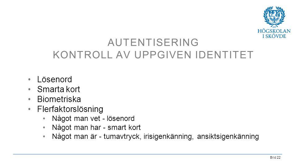 Autentisering kontroll av uppgiven identitet