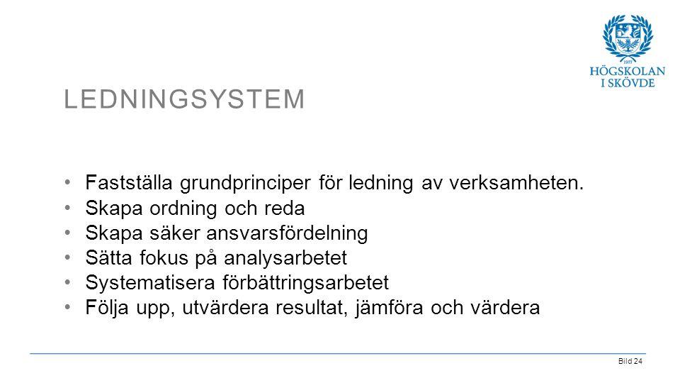 Ledningsystem Fastställa grundprinciper för ledning av verksamheten.