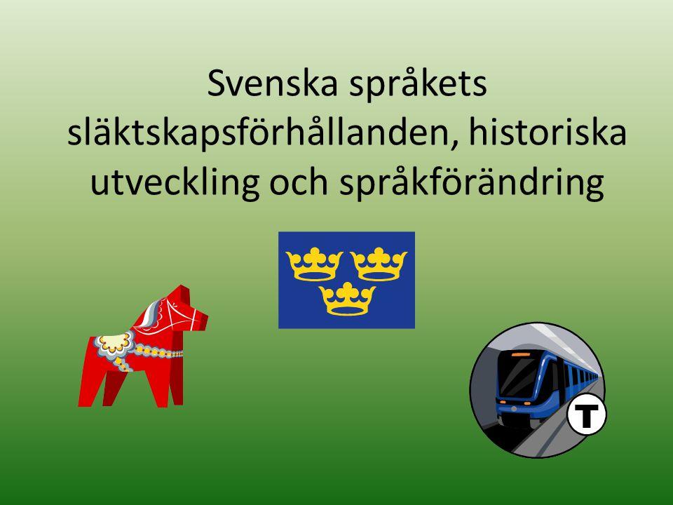 Svenska språkets släktskapsförhållanden, historiska utveckling och språkförändring