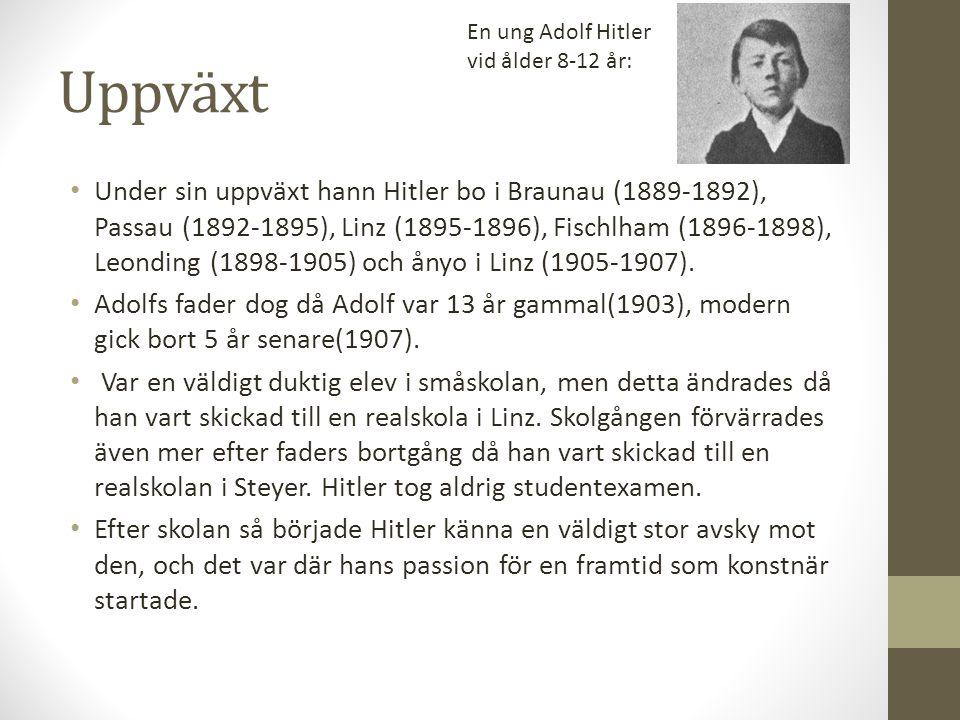 En ung Adolf Hitler vid ålder 8-12 år: Uppväxt.