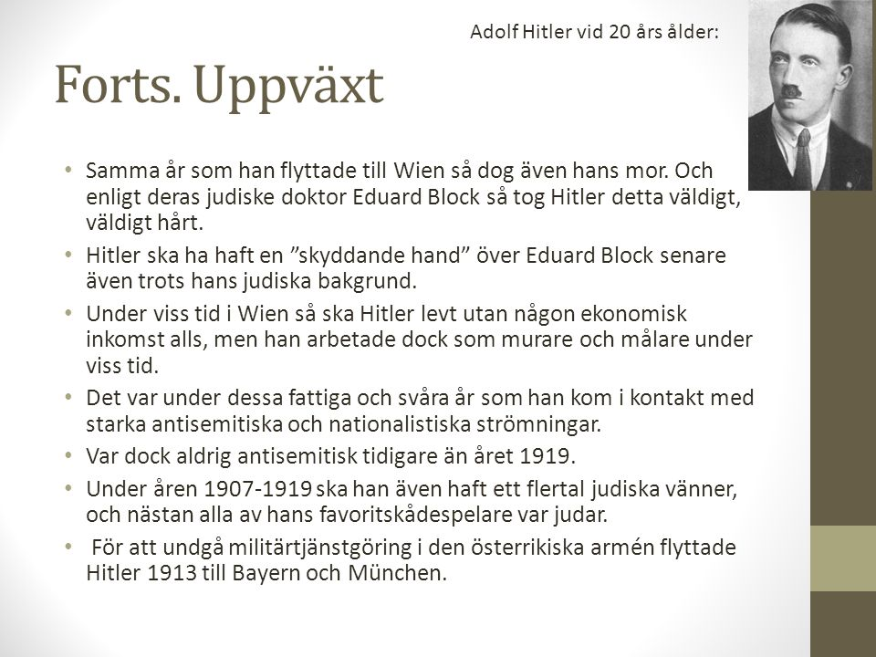 Adolf Hitler vid 20 års ålder: