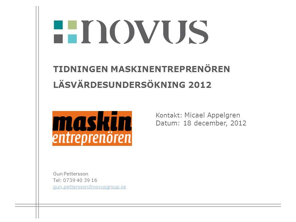 Tidningen Maskinentreprenören läsvärdesundersökning 2012