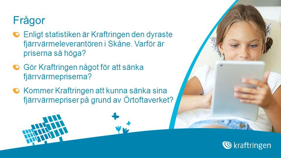 Frågor Enligt statistiken är Kraftringen den dyraste fjärrvärmeleverantören i Skåne. Varför är priserna så höga