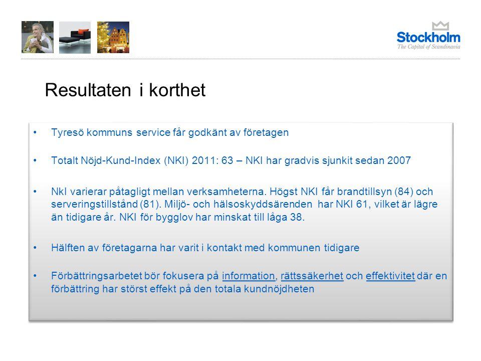 Resultaten i korthet Tyresö kommuns service får godkänt av företagen