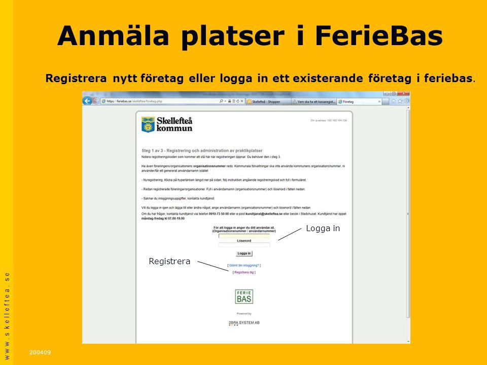Anmäla platser i FerieBas