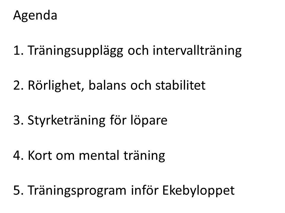 Agenda 1. Träningsupplägg och intervallträning. 2. Rörlighet, balans och stabilitet. 3. Styrketräning för löpare.