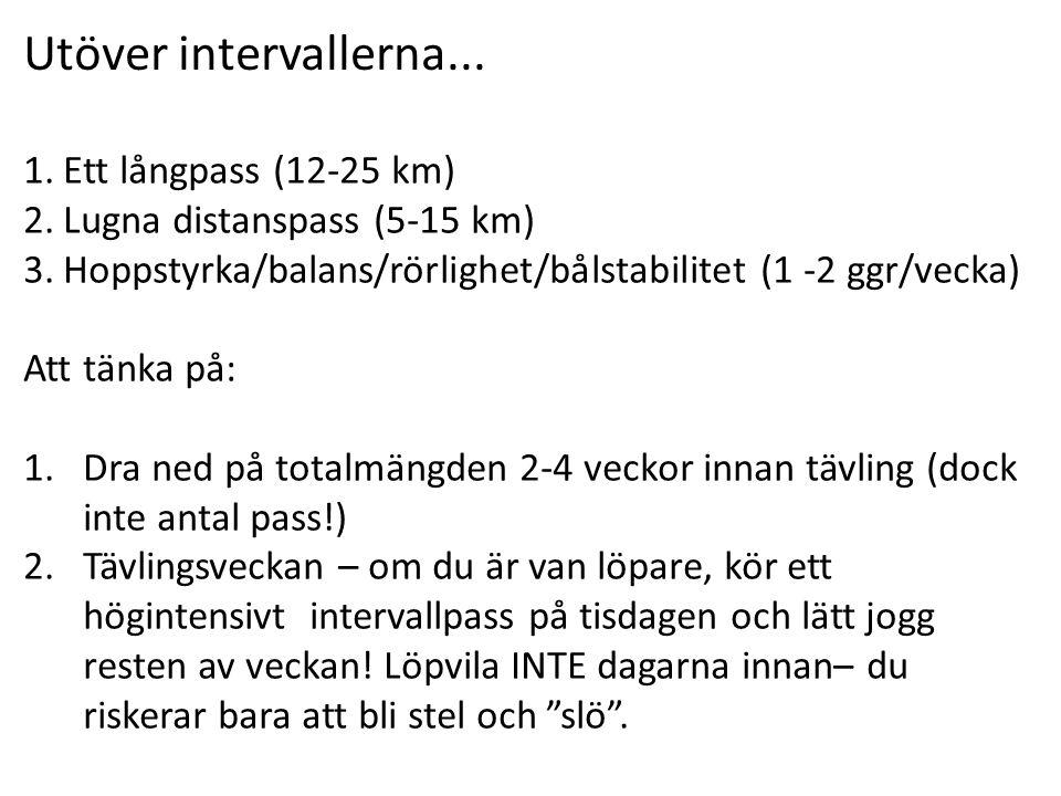 Utöver intervallerna... Ett långpass (12-25 km)