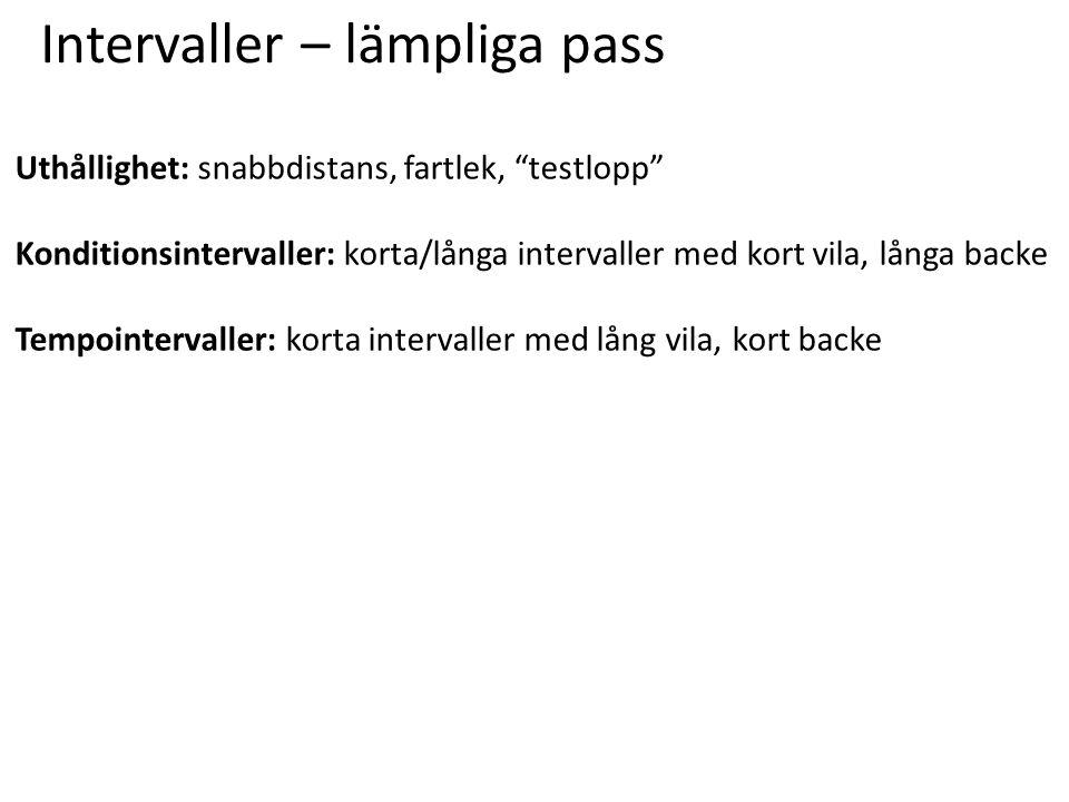 Intervaller – lämpliga pass