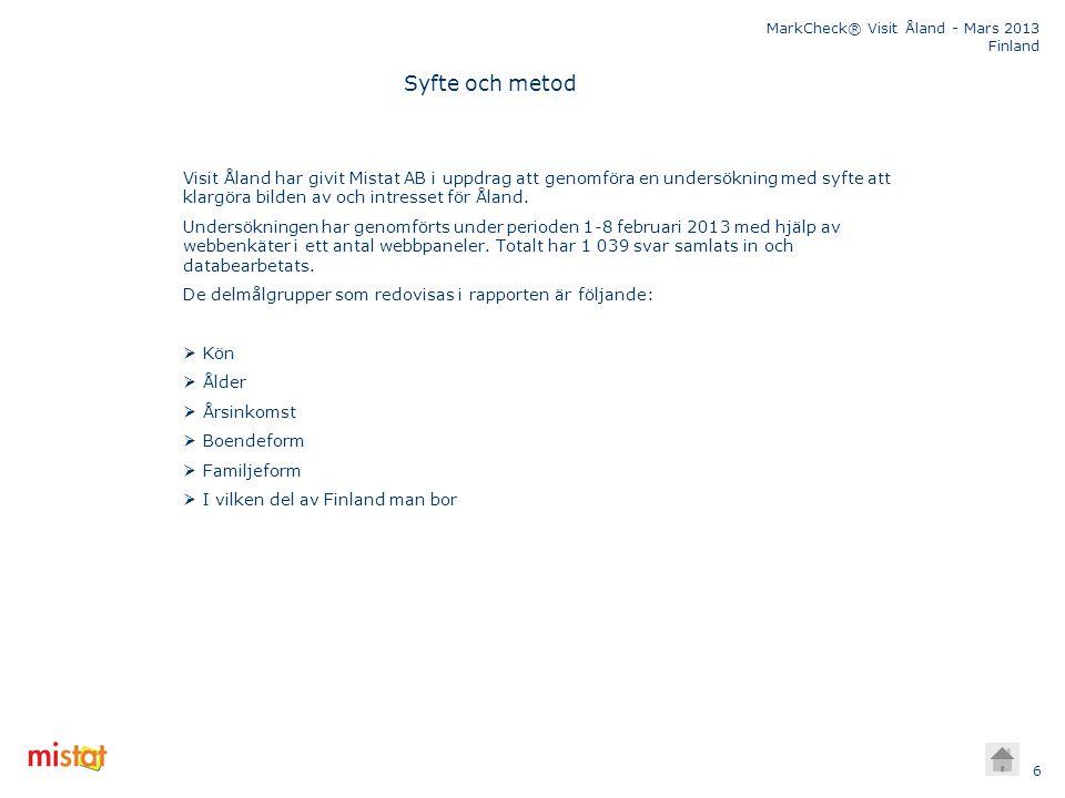 Syfte och metod Visit Åland har givit Mistat AB i uppdrag att genomföra en undersökning med syfte att klargöra bilden av och intresset för Åland.