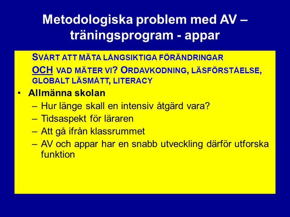Metodologiska problem med AV – träningsprogram - appar