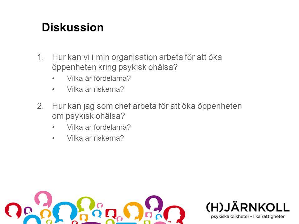 Diskussion Hur kan vi i min organisation arbeta för att öka öppenheten kring psykisk ohälsa Vilka är fördelarna