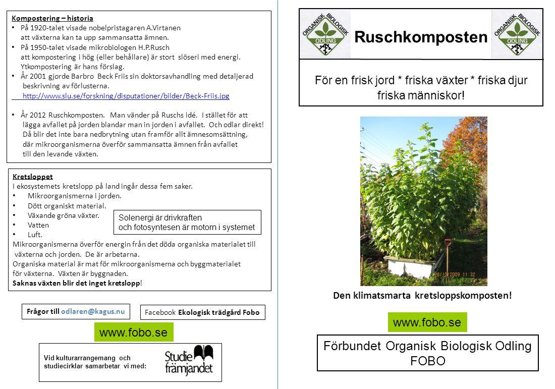 Ruschkomposten Förbundet Organisk Biologisk Odling FOBO www.fobo.se