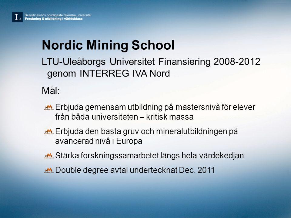 Nordic Mining School LTU-Uleåborgs Universitet Finansiering 2008-2012 genom INTERREG IVA Nord. Mål: