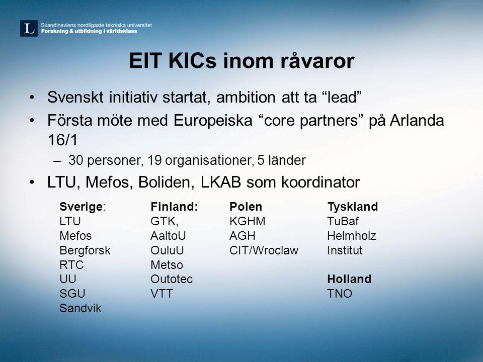 EIT KICs inom råvaror Svenskt initiativ startat, ambition att ta lead Första möte med Europeiska core partners på Arlanda 16/1.