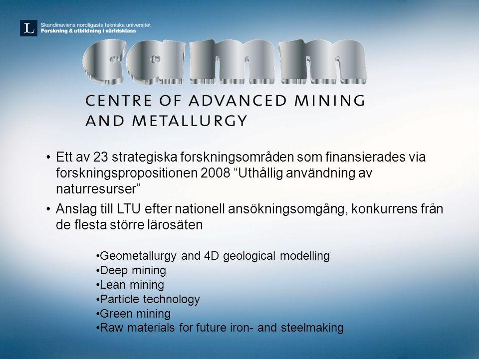 Ett av 23 strategiska forskningsområden som finansierades via forskningspropositionen 2008 Uthållig användning av naturresurser