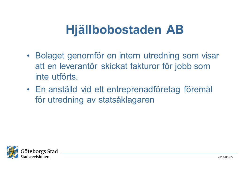 2017-04-03 Hjällbobostaden AB. Bolaget genomför en intern utredning som visar att en leverantör skickat fakturor för jobb som inte utförts.