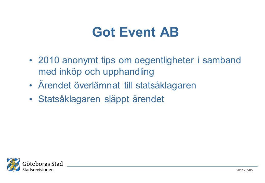 Got Event AB 2010 anonymt tips om oegentligheter i samband med inköp och upphandling. Ärendet överlämnat till statsåklagaren.