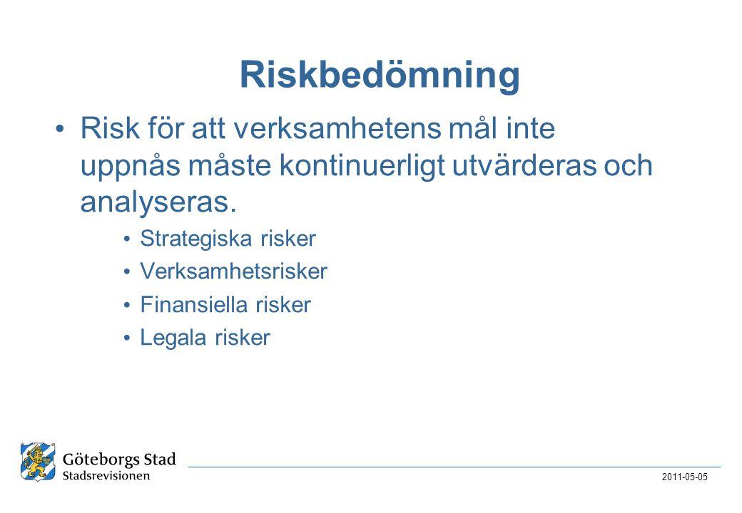 2017-04-03 Riskbedömning. Risk för att verksamhetens mål inte uppnås måste kontinuerligt utvärderas och analyseras.