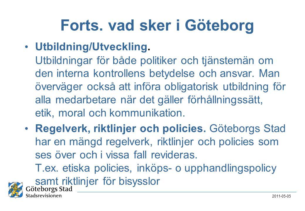 Forts. vad sker i Göteborg