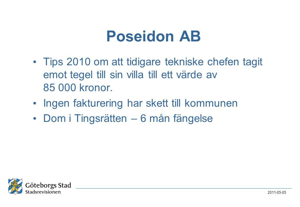 Poseidon AB Tips 2010 om att tidigare tekniske chefen tagit emot tegel till sin villa till ett värde av 85 000 kronor.