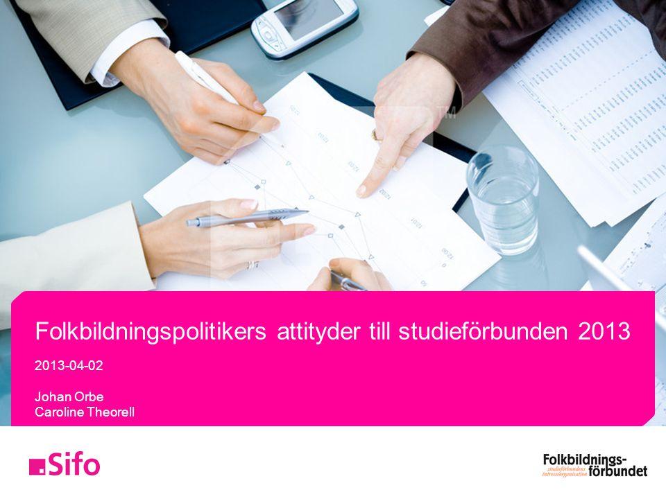 Folkbildningspolitikers attityder till studieförbunden 2013