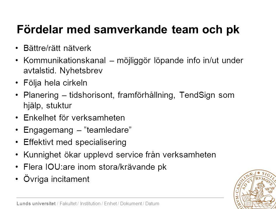 Fördelar med samverkande team och pk