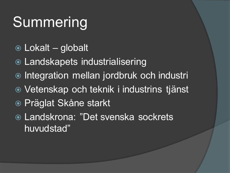 Summering Lokalt – globalt Landskapets industrialisering