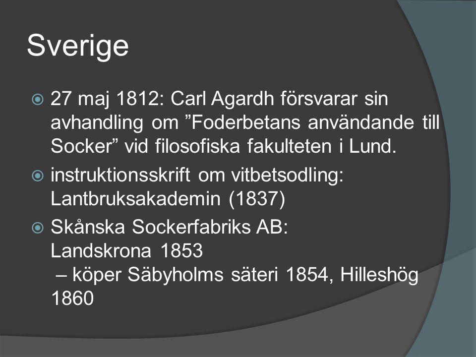 Sverige 27 maj 1812: Carl Agardh försvarar sin avhandling om Foderbetans användande till Socker vid filosofiska fakulteten i Lund.