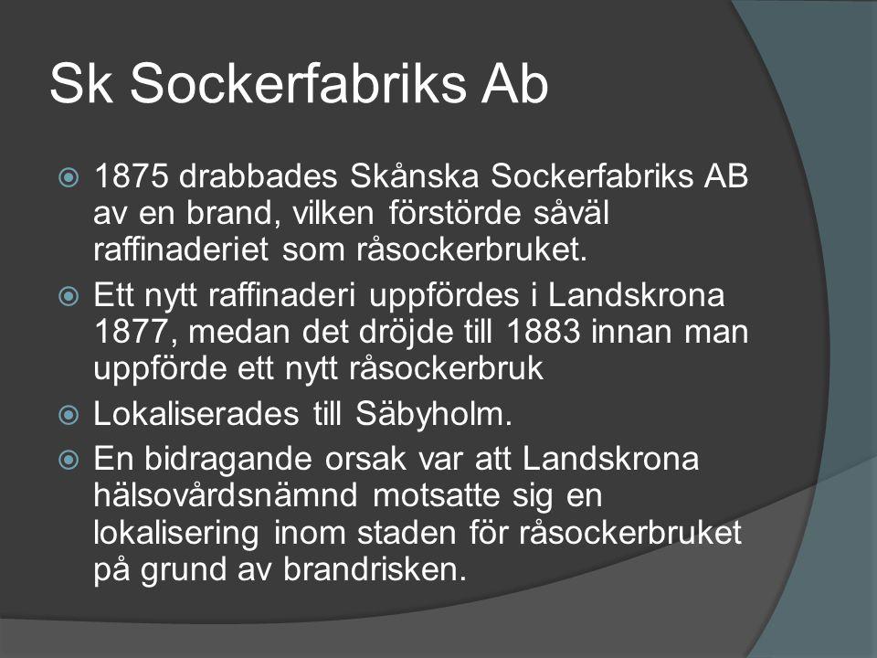 Sk Sockerfabriks Ab 1875 drabbades Skånska Sockerfabriks AB av en brand, vilken förstörde såväl raffinaderiet som råsockerbruket.