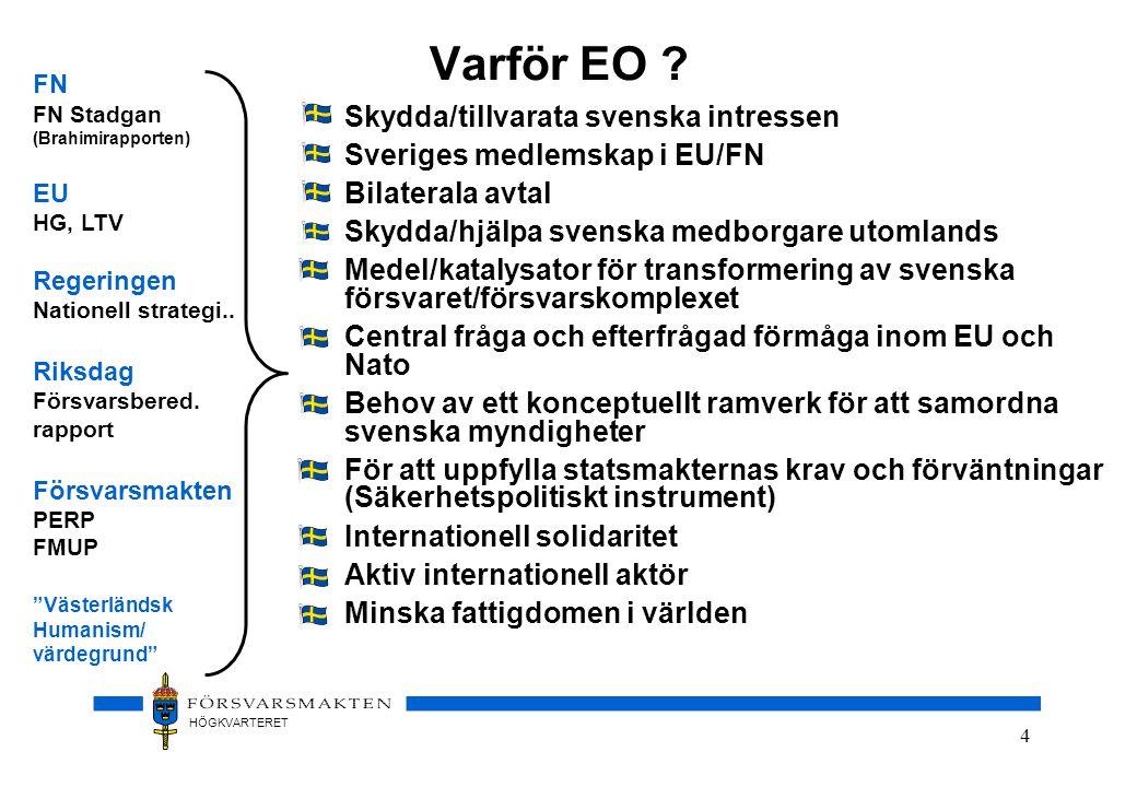 Varför EO Skydda/tillvarata svenska intressen