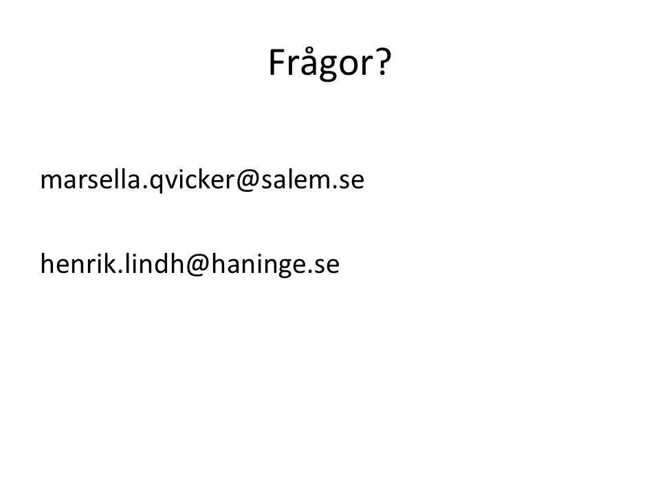 Frågor marsella.qvicker@salem.se henrik.lindh@haninge.se