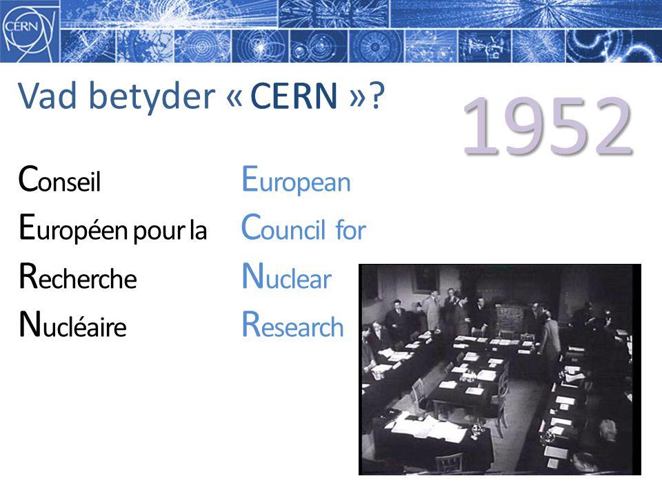 1952 Vad betyder « » CERN C E R N