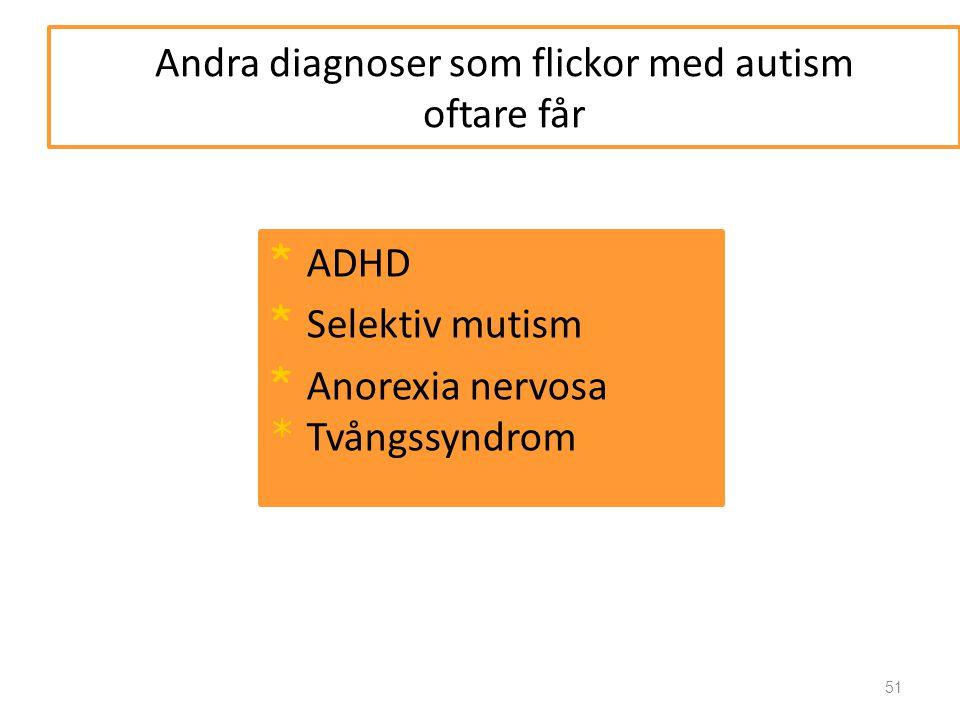 Andra diagnoser som flickor med autism oftare får
