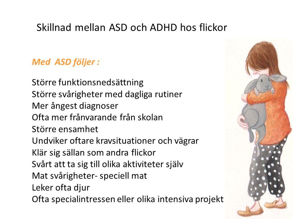 Skillnad mellan ASD och ADHD hos flickor