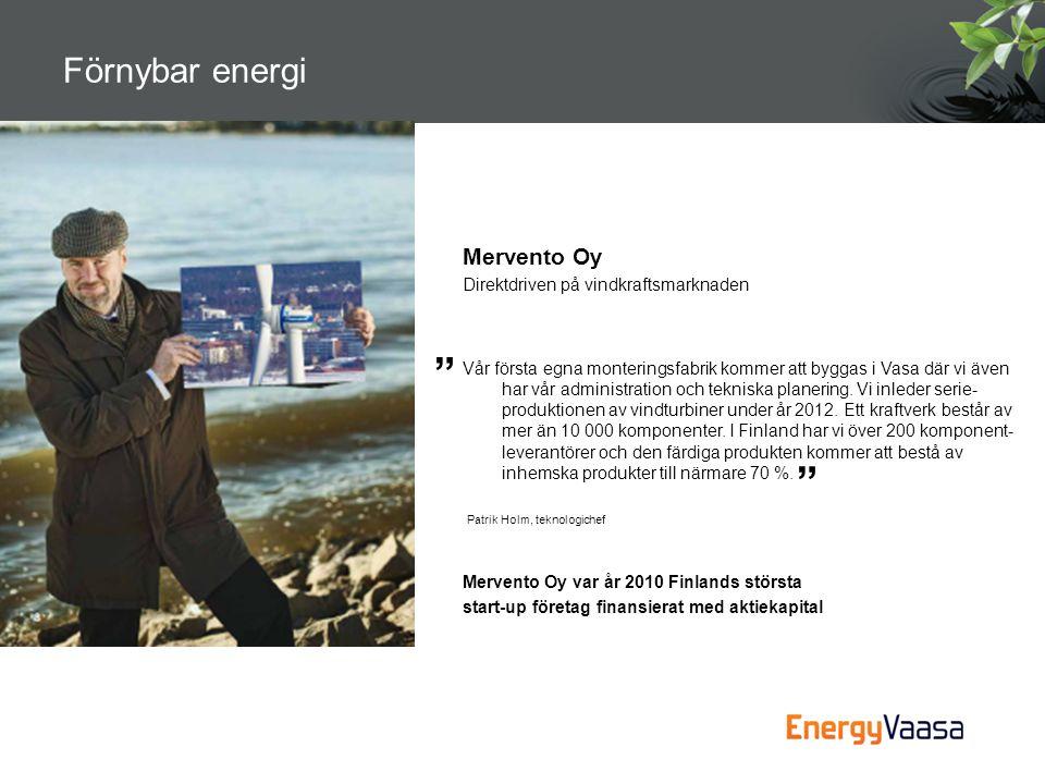 Förnybar energi Mervento Oy Direktdriven på vindkraftsmarknaden